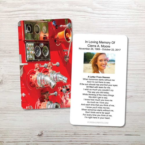 Picture of Red Fire Engine Memorial Card