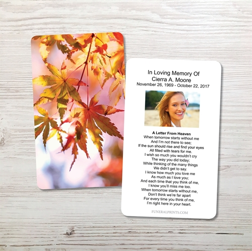 Picture of Leaves of Fall Memorial Card