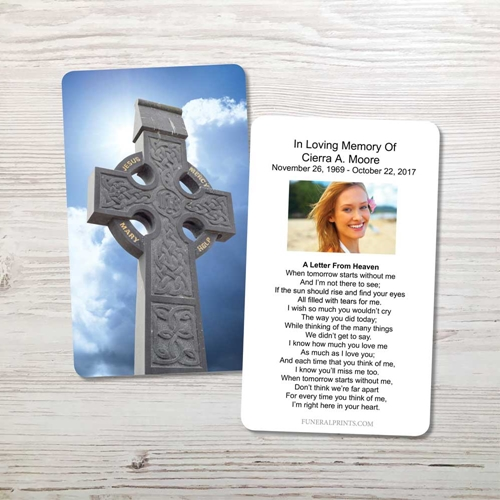 Picture of Celtic Cross Blue Sky 1 Memorial Card