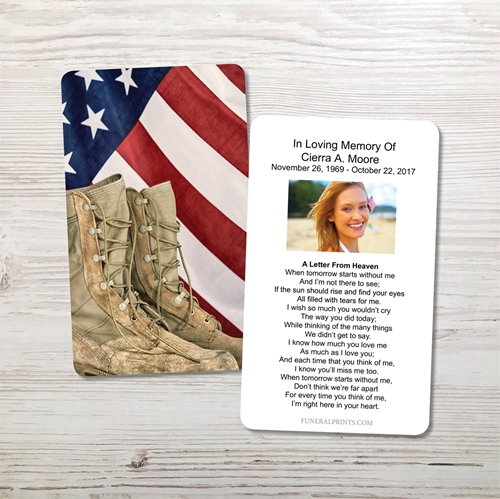 Picture of Flag & Boots Memorial Card