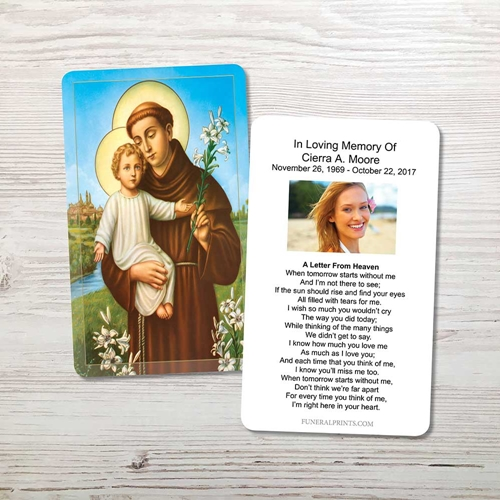 Picture of St. Anthony Memorial Card