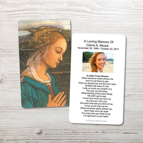 Picture of Mary 2 Memorial Card