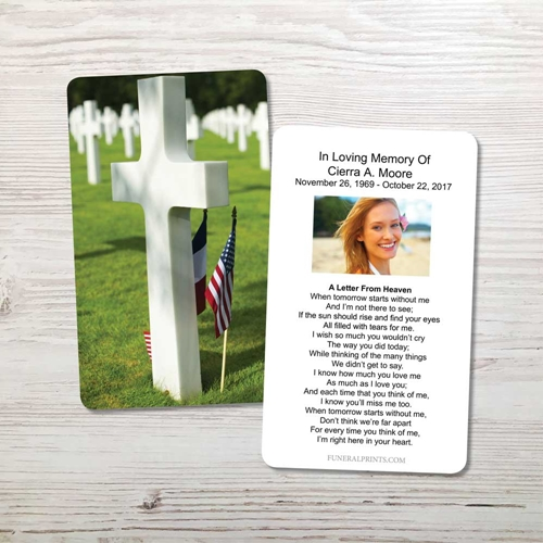 Picture of Cross Military Cemetary Memorial Card