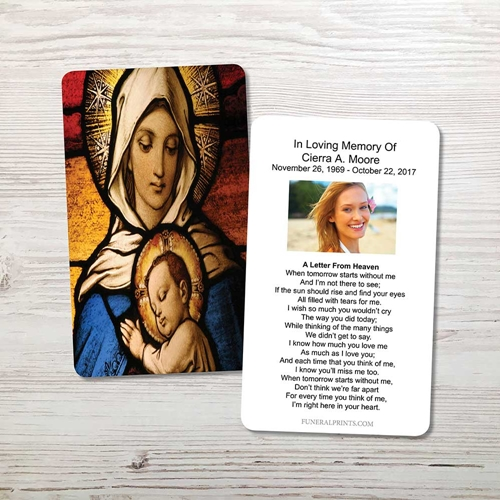 Picture of Virgin Mary with Baby Jesus Memorial Card