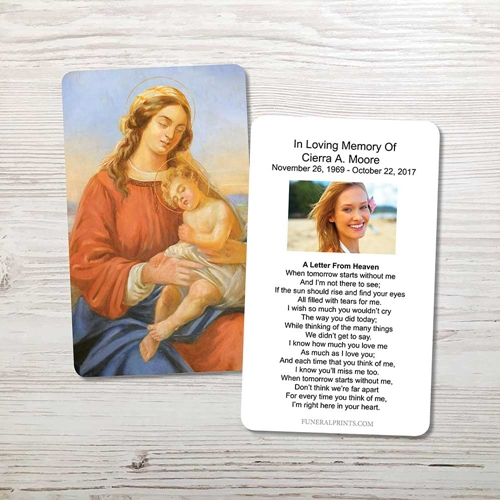 Picture of Mary & Baby Jesus Memorial Card