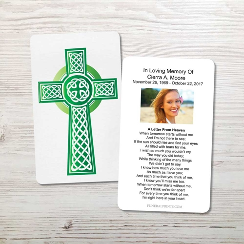 Picture of Green Celtic Cross Memorial Card