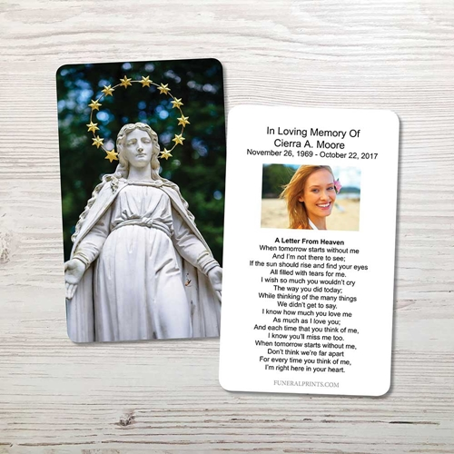 Picture of Statue of Virgin Memorial Card