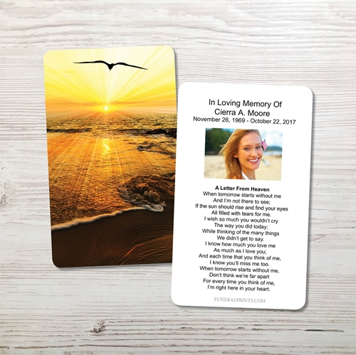 Picture of Sunset Seagull Memorial Card